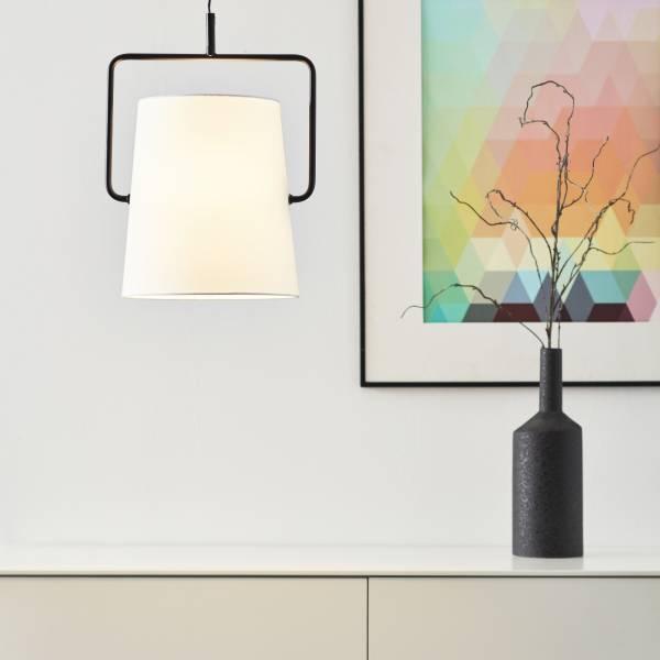 Pendelleuchte, 1-flammig, 1x E27 max. 60W, Metall / Textil, schwarz / weiß
