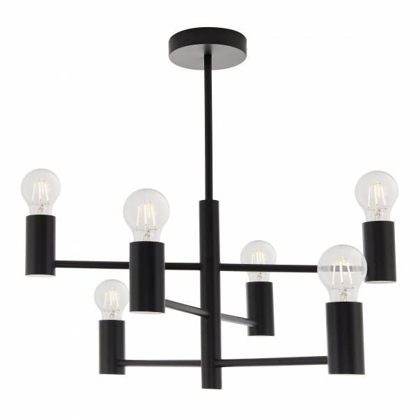 Lightbox dekorative Pendelleuchte im Industriestil, geeignet für LED Leuchtmittel, 6x E27 max. 40W, Metall - Schwarz Matt